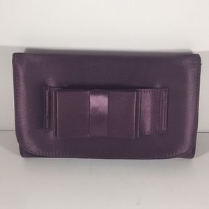 Handbags - Purple Satin Clutch Wristlet with Bow Handle NWT